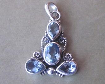 Bali sterling Silver genuine Topaz gemstones pendant / silver 925 / Balinese handmade jewelry / Granulation technique