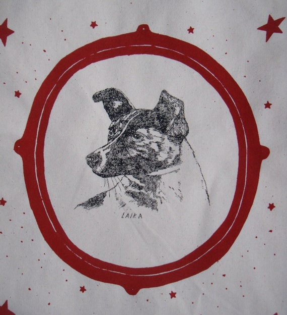 Dog in Space Screen Printed Tote Bag
