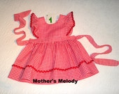 Small Check Gingham Pinafore Jumper Dress in color and style choice.  Made to Order in sizes 12 months to 4.