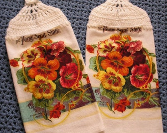 Kitchen Towels with Crocheted Tops.  Spring Flowers or Pears with Stripes. Ready to Ship.
