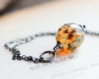 Honey Brown Beaded Necklace - Glass Bead Pendant on Sterling Silver Chain - Candied Ginger - Spring Summer Fashion Trends