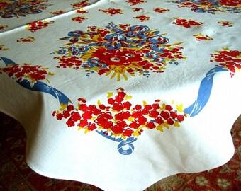 RETRO Vintage Sharp Print TABLECLOTH Cotton Sailcloth Blue Frame Vivid Colors