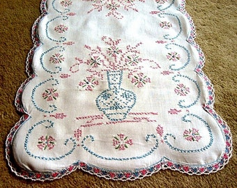 Embroidered table runner linen extensive pink blue work hand stitched lace trim