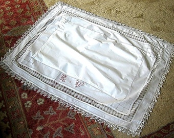 Pillow Case Bed Runner Vintage Antique LINEN or Tablecloth Fine Lace Monogrammed Red