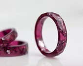 Deep Purple Resin Ring Stacking Ring Silver Flakes Small Faceted Ring OOAK dark burgundy acai