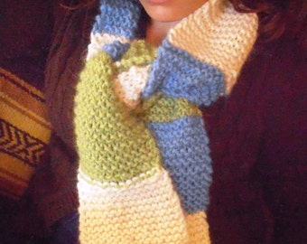 Knit Scarf, Striped, Alpaca Blend Snuggle Yarn, Blue Bird, Winter Sky, Spring Green