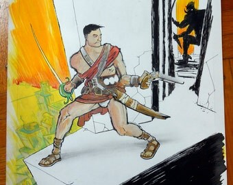 John Carter of Mars illustration: Original Comic Book Art by Michel Fiffe