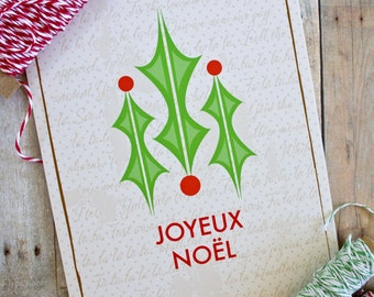 Joyeux Noel Holly French Christmas Card
