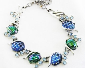 Blue and Green Molded Glass Necklace
