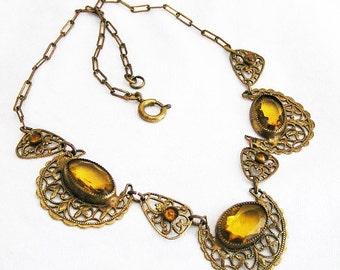 Edwardian Topaz Glass Filigree Necklace c.1920