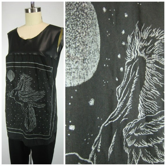 Leather Graphic Tank Top / Sheer Back Shirt / Flying Horse Graphic / Pegasus Graphic / Perforated Leather Tank Top / Vintage Scarf Upcycle