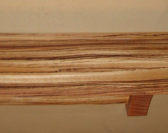 Shelf or Mantle  Zebrawood and Tiger Maple Inch Wall Mounted