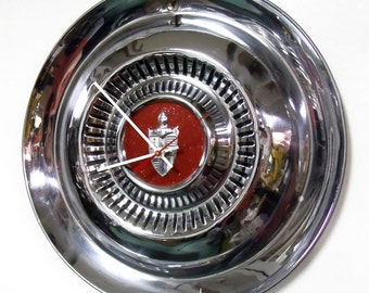 1954 1955 Lincoln Hubcap Wall Clock - 1950's Classic Car Decor - Mid Century Decor
