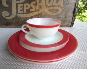 Vintage 1950s Pyrex Cup Saucer and Plates Coral Flamingo Pink Trim White Glass
