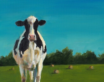 Cow Painting - Sophia Study - Canvas or Paper Giclee Print of an original painting