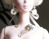 Barbie Silkstone Silver Wire Wrapped  Necklace and Earrings for 11.5 inch dolls