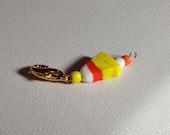 Halloween crochet stitch marker - Candy Corn