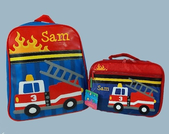 Child's Personalized Stephen Joseph GoGo FIRETRUCK Themed Backpack and Lunchbox School Set-Monogramming Included In Price