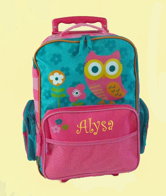Personalized Stephen Joseph Rolling Luggage TEAL OWL Themed for Children