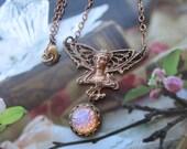 Vintage Victorian Brass Lady Angel With Opal Glass Gem