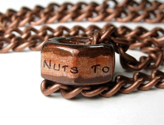Nuts to You, Industrial Chic, Hex Nut Necklace, Antiqued Copper, Mens Fashion, Metal, Humorous Gifts for Guys, Gag Gifts, Funny, Unisex