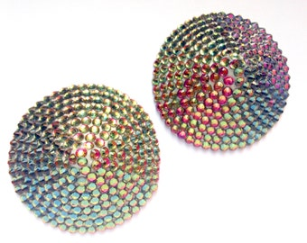 Pink Yellow Gold Green Burlesque Crystal Pasties 2.25""