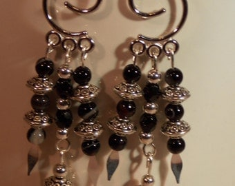 "Black Crystal Dangle Earrings.  3 "" Inch Dangle.  One of a Kind."