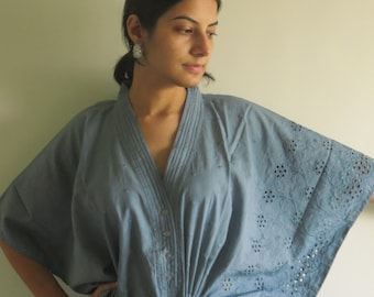 Gray Eyelet Nursing Maternity Hosptial Gown Delivery Kaftan Great as loungewear getting ready, beachwear gift for moms to be moms