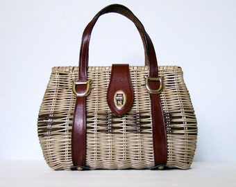 Straw Bag Purses Vintage 70s Summer Handbag Purse Woven Small Leather