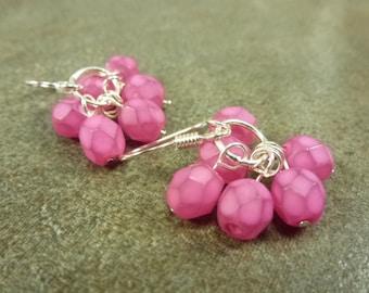 Raspberry Cluster Earrings Firepolished Czech Glass Pink