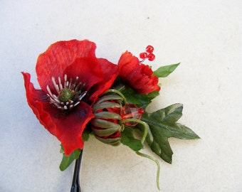 Poppy Love - triple poppy fascinator with beaded embellishment - customizable on bobby pin, barrette, comb or alligator clip
