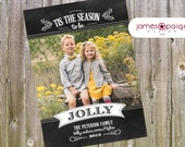 Tis The Season To Be Jolly One Picture Chalk Art Card Design (4x6, 5x7, 6x7.5 costco)