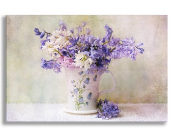 Flower Still Life Photo on Canvas, Bluebells Nature Fine Art Gallery Wrapped Canvas, Large Wall Art, Romantic Home Decor