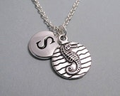 Seahorse Disc Charm Necklace, Seahorse Keychain, Silver Plated Charm, Engraved Initial, Personalized, Monogram