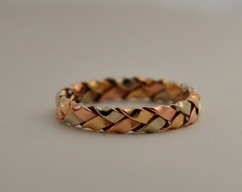 14k Rose, White, and Yellow Gold Braided Ring Heidi, Handmade in Maine