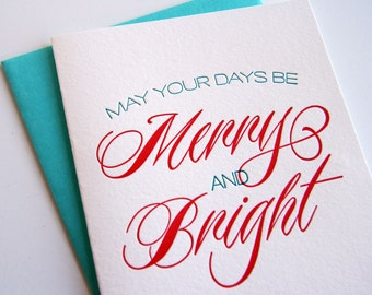 Letterpress Christmas Card Letterpress Holiday Cards  - Merry and Bright