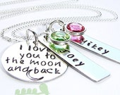 Mother charm necklace- Hand stamped charms - I Love you to the moon and back necklace - New mom necklace