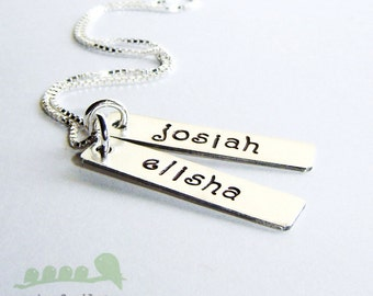 Personalized handstamped bar charm necklace... TWO silver bars  22 Gauge Thick  with no birthstone