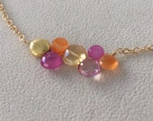 Pink Sapphire Gemstone Bead Bar Necklace in Gold Vermeil with Semiprecious Citrine, Orange Carnelian and Mystic Pink Quartz