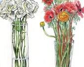 Flowers in vasess
