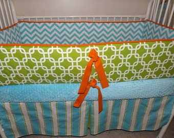 Lime Turquoise and Orange Chevron Custom Baby Bumper Pad Crib Set DEPOSIT Down payment Only Ready details