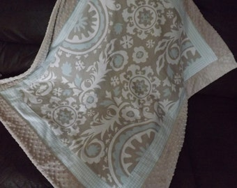 Baby blanket Taupe and mist blue minky dot