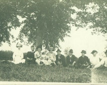 Family Gathering Summer Picnic Men Women Kids Sitting on Hill Trees RPPC Real Photo Postcard Antique Vintage Black White Photo Photograph