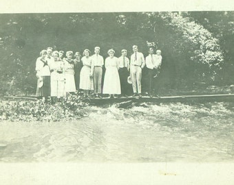 Young Men Women Baby Standing on a Wood Bridge Over Small Stream RPPC Real Photo Postcard Vintage Antique Black White Photo Photograph