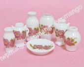 7pcs Dollhouse Miniature Porcelain Vase Set Floral Print N155