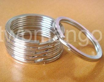 """50 Silver Metal Round Key Rings...Split Rings...1 1/8""""...30mm...H131-50"""