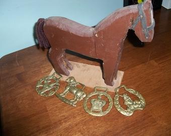 4 antique horse brass