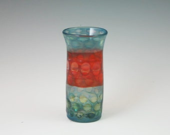Glass Tumbler -Shot Glass - Lampwork Handblown Miniature Flower Vase - Shooter - Jigger