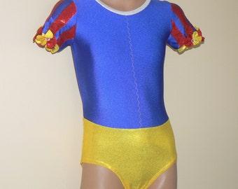 Dancewear. Snow White Inspired Leotard. Dance Leotard. Gymnastic Leotard. Performance Costume.  SIZES 2T - Girls 12