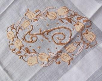 Hankie Large Vintage or Antique Handkerchief or Hankie Monogrammed F